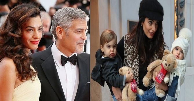 ჯორჯ კლუნის 1 წლის ტყუპის პირველი ფოტოები! - წყვილმა ვეღარ მოახერხა ბავშვების ფოტოების დამალვა..